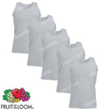 5 CANOTTE GRIGIE CANOTTIERE UOMO FRUIT OF THE LOOM  VALUEWEIGHT