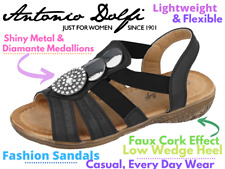 Ladies Faux Leather Open Toe Sling Back Strappy T-Bar Flat Summer Sandals Size