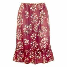 New Womens Burgundy Floral A Line Plus Size Skirt Summer Casual Ruffle Hem 12-32