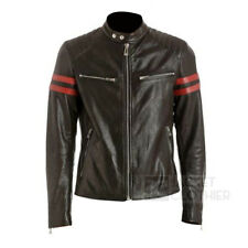 Men's Black Biker / Motorcycle Leather Jacket with Red Stripes - All Sizes