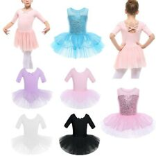 Girls Ballet Skate Tutu Leotard Dance Dress Kids Dancing Skating Skirt Dancewear