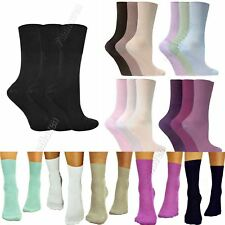 Ladies Loose Soft Top 3 6 12 Pairs Pack Size 4-7 NON ELASTIC Bamboo Womens Socks