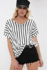 White / Black Stripe Basic V Neck Oversized Tee