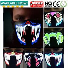 LED Light Up Flash EL Wire Party Raver Scary Mask Halloween Costume Cosplay NI
