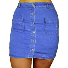 Ladies/Womens High Waisted Button Denim Stretchy Bodycon Pencil Mini Jean Skirt