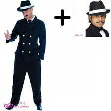 Uomo Chicago Gangster COSTUME + CAPPELLO TRILBY 1920 Mafia Adulto Fancy Dress
