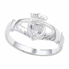 IRLANDESE ANELLO CLADDAGH ARGENTO STERLING gemset AMICIZIA LOVE 925