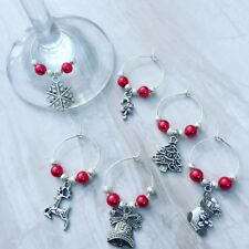 6 x Christmas wine glass charms, hostess gift, party accessories, housewarming