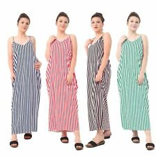 New Womens Striped Printed Maxi Dress Strappy Full Long Summer Plus Size 8-26