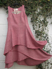 "TWEED PINAFORE DRESS QUIRKY LAYERED SKIRT RED / PETROL BNWT 35"" - 46  LAGENLOOK"