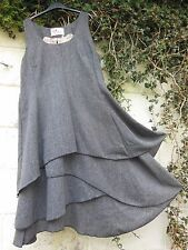 "TWEED PINAFORE DRESS BLACK GREY LAYERED SKIRT BNWT 46"" BUST LAGENLOOK"