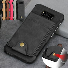 For Galaxy S9/Note 8 Leather Wallet Credit Card Slot Stand Shockproof Case Cover