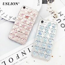 For iPhone 7 Plus Back Cover Glitter 3D Love Heart Phone Case Skin Shell
