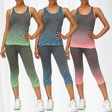93d777af8e1ace Ladies Sport Set GYM Fitness Shirt Leggings Training Pants Two Piece Workout  Top