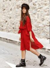 Zara Rouge à volants Tunique manches longues robe taille S M ref 5065 226 NEUF