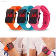 Digital LED Silicone Square Wrist Watch Touch Screen Unisex Boys Girls Men 77E8