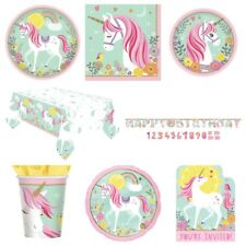 Magical Pastel Unicorn Party Supplies Plates,Cups,Napkins,Banner,Table Cover