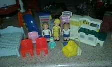 LOT of Vintage Little Tikes Dollhouse Furniture and Four Little Tikes People.