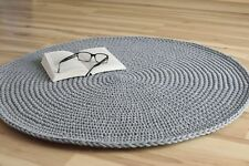 Handmade round crochet rug made of cotton rope/nursery rug/grey