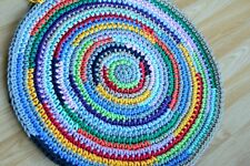 Handmade round crochet rug made of cotton rope/nursery rug/multicolour