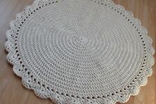 Handmade round crochet rug/cotton rope/nursery rug/cream doily rug
