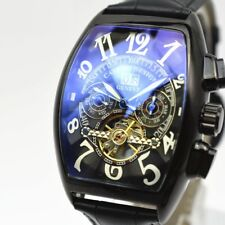 Tourbillon Automatic Mens Watch Leather Sport Rectangle Swiss Date Sapphire Dial