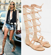 ZARA TAN GENUINE LEATHER HIGH LEG LACE UP SANDALS FLAT SHOES BOOTS all sizes