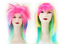 Mix Straight Spiky Wig Party pink/multi colour fancy dress 80s Costume Party