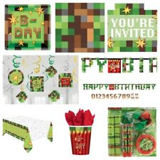 TNT Pixel Gaming Boys Birthday Party Table Covers,Paper Plates,Cups,Napkins,Bags