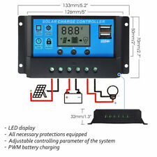 LCD Solar Panel Battery Regulator Charge Controller Dual USB 10/20/30A 12V/24V S