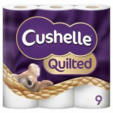 Cushelle 9 Rolls Quilted Toilet Roll Tissue Paper Multiple Packs,2 ply tissue
