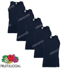 5 CANOTTE BLU CANOTTIERE UOMO FRUIT OF THE LOOM  VALUEWEIGHT taglie S-XXL