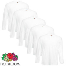 5 T-SHIRT UOMO BIANCHE MANICA LUNGA MAGLIA FRUIT OF THE LOOM 100% COTONE s-xxl