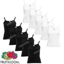 10 CANOTTE DONNA BIANCHE E NERE CANOTTIERE FRUIT OF THE LOOM LADY   taglie xs-xl