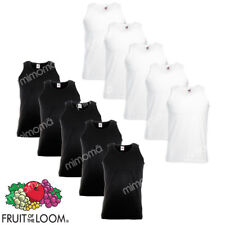 10 CANOTTE BIANCHE NERE CANOTTIERE UOMO FRUIT OF THE LOOM  VALUEWEIGHT    s-xxl