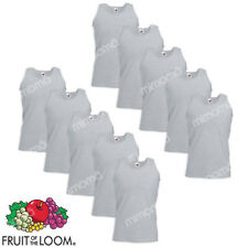 10 CANOTTE GRIGIE CANOTTIERE UOMO FRUIT OF THE LOOM  VALUEWEIGHT   taglie s-xxl