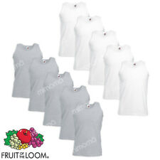 10 CANOTTE BIANCHE GRIGIE CANOTTIERE UOMO FRUIT OF THE LOOM  VALUEWEIGHT   s-xxl