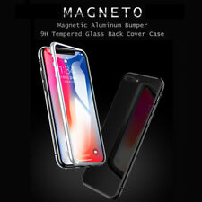 For iPhone X 7 8 Plus Luxury Magnetic Metal Frame Tempered Glass Back Cover Case