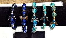 Angel got the blues?? - Angel bracelets in sparkly crackle beads