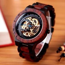 Wooden Automatic Mechanical Skeleton Swiss Big Dial Men Wrist Watch Vintage Wood