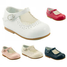 BABY GIRLS PRETTY SPANISH STYLE PATENT MARY JANE SHOES WHITE PINK RED NAVY UK2-6