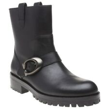 New Womens Coach Black Leighton Leather Boots Ankle Buckle Pull On