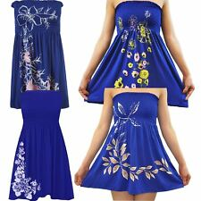 Ladies Plus Size Royal Blue Floral Leaves Strapless Sheering Boobtube Summer Top
