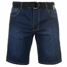 Pierre Cardin Hombres Denim Web Belt Shorts Mens Vaqueros