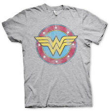 Official Licensed Wonder Woman Distressed Logo Unisex/Men's T-Shirt S-XXL (Grey)