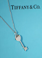 Tiffany & Co KEYS Sterling Silver Small Heart 0.3ct Diamond Key Necklace