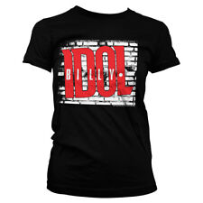 Official Licensed Billy Idol Logo Punk Rock Band Girly T-Shirt S-XXL (Black)