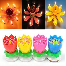 Romantic Sparkling Fountain Musical Birthday Music Play Lotus Candle Cake Topper
