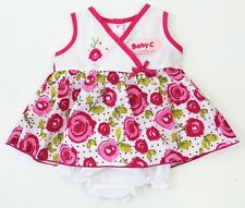 Baby C Girls Pink White Floral Roses Dress Bloomers/Pants Outfit 3-6-9 Months