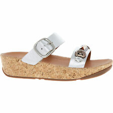 FitFlop Silver Leather Jeweley Wobbleboard Comfy Slide Sandals UK 4-6.5 RRP £90